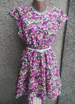 Платье в цветочный принт,без подкладки,хлопок,большой размер, f&f