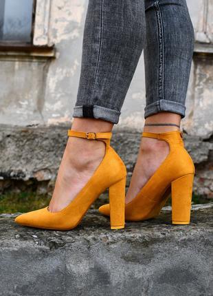 Туфли на удобном каблуке эко замш 36-39р