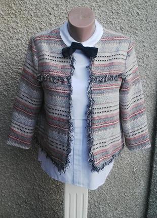 Жакет,пиджак без застежки с бахромой в стиле шанель,(хлопок,по...