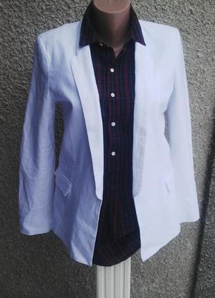 Белый,льняной жакет(пиджак) asos без застежки(лен+вискоза)