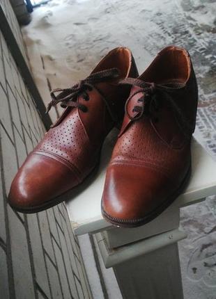 Кожаные туфли с перфорацией,(массивные) ,  англия,унисекс,кожа...