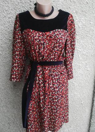 Красивое ,легкое платье под пояс, с велюровыми вставками и кар...