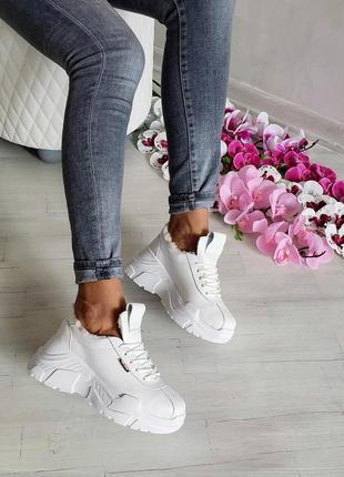 Последний размер 37 !!! кожаные белые кроссовки натуральная кожа