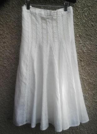 Летняя, белая юбка клиньями, на подкладке с кружевом,большого ...