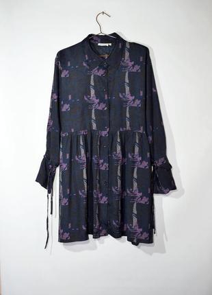 Подовжена сорочка оверсайз з принтом, плаття-сорочка