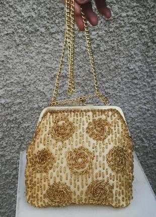 Красивая,золотая, вечерняя,винтажная сумочка ручной работы с в...