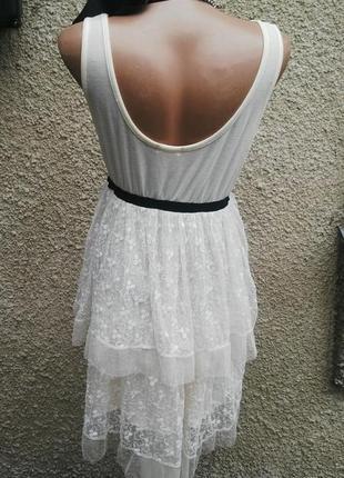 Кружевное,ажурное(гипюровое) многослойное платье(туника) с отк...