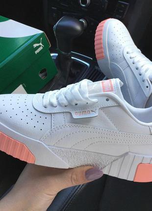 Женские кроссовки puma cali белые с розовым