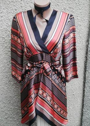 Очень красивая,атласная,ассиметричная блуза  под пояс(вечерняя...