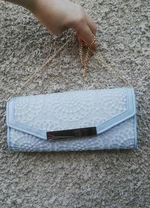 Новая сумка,клатч на золотой цепочке,ажурный,кружевной(вечерни...