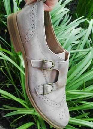Кожаные туфли - монки с перфорацией,кожа 100% new look