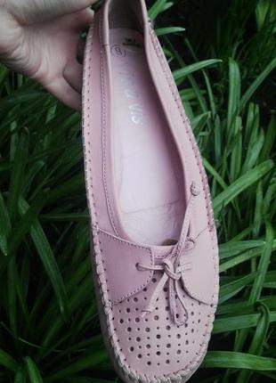 Кожаные мокасины(туфли,балетки)с перфорацией , большого размер...
