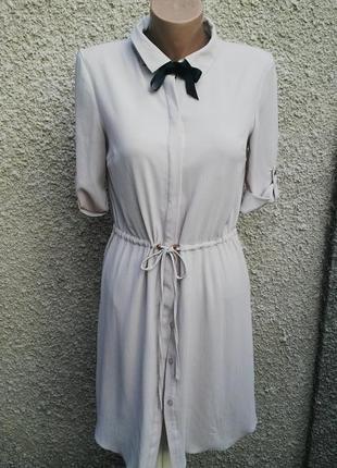Платье-рубашка,туника под пояс,на подкладке,цвет нюдовый.