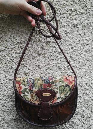 Винтажная,дизайнерская сумочка,кроссбоди,100% кожа+ гобелен(то...