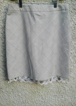 Красивая юбка в в клетку(на подкладке) с кружевом по низу,виск...