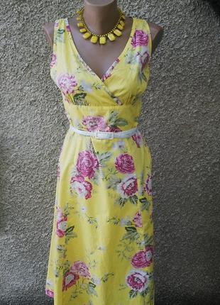 Платье,сарафан в цветочный принт,без подкладки,хлопок,