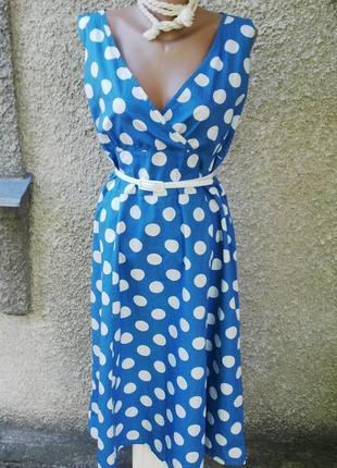 Платье,сарафан в горохи,большой размер,хлопок.