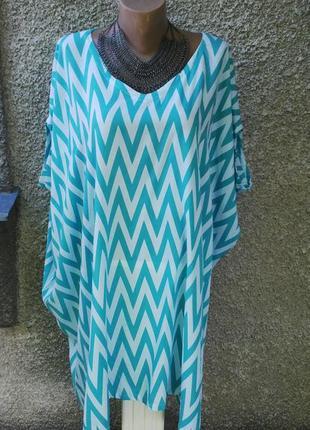 Платье,туника пляжная свободного кроя,батик,большой размер