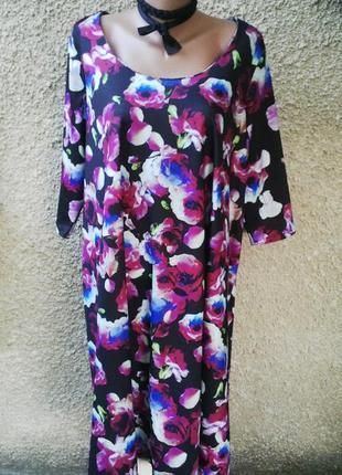 Красивое платье в цветочный принт,свободный крой(а-силуэт),бол...