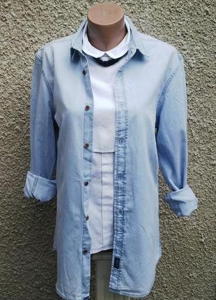Рубашка джинсовая,светлая(унисекс),как мужская,так и женская,х...