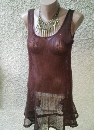 Майка в сетку с воланом(баской)по низу,платье,туника пляжная ,...