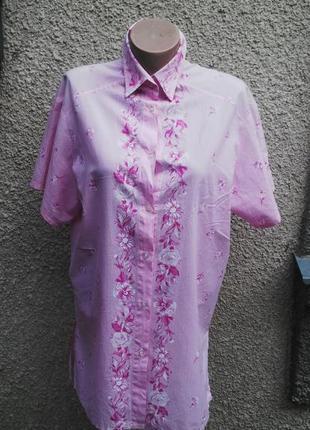 Розовая блуза в полоску,удлиненная рубашка в цветочный принт,б...