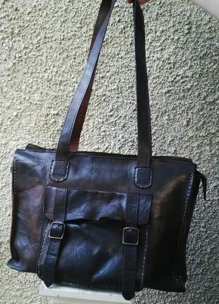 Крутая,винтажная,большая кожаная сумка  ручной работы,кожа 100%
