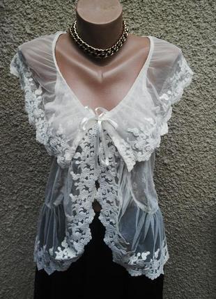 Блузка ажурная,кружевная жилетка,гипюровая ,большой размер