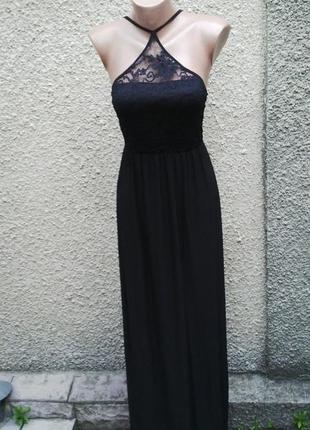 Красивое черное,вечернее платье ,сарафан в пол, с кружевом и о...