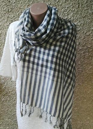 Большой,красивый,оригинальный, хлопковый шарф в клетку с бахро...