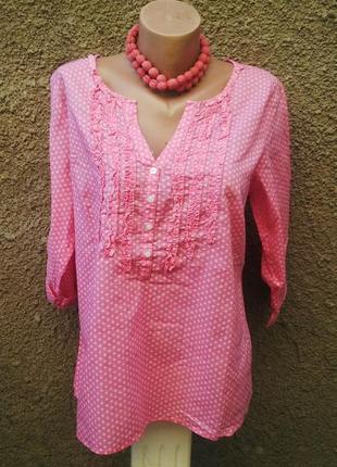 Розовая рубашка,блуза с жабо на груди,хлопок,большой размер, b...
