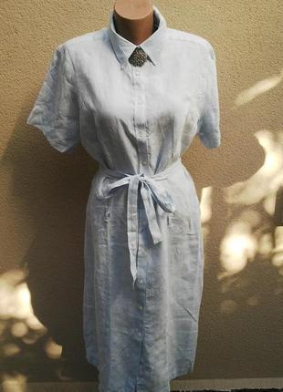 Льняное,голубое платье-халат на застежке,под пояс,лен 100%