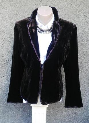 Красивый,бархатный(шелковый)жакет,пиджак на подкладке,большой ...