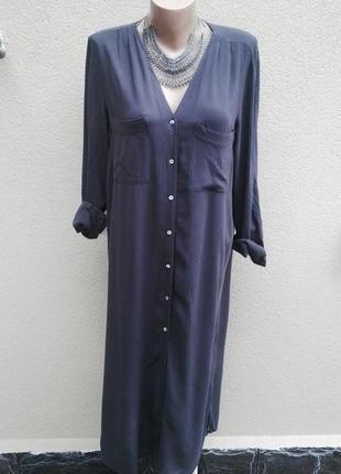 Длинное платье-рубашка,вискоза(без подкладки)прямой крой. h&m