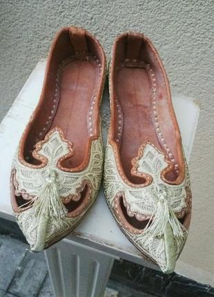 Тапочки,балетки,туфли(восточные)кожа 100%,шелковая вышивка,руч...