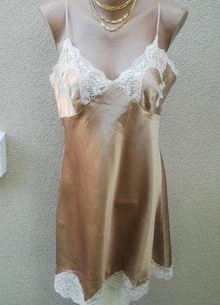 Золотой пеньюар,белье ночное с кружевом,комбинация,большой раз...