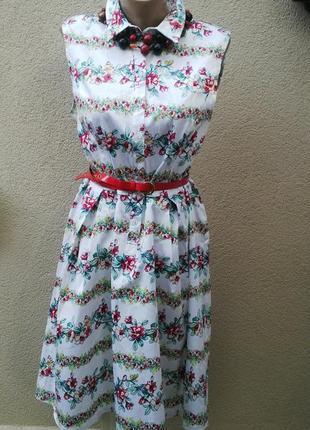 Красивое платье ,цветочный принт,хлопок + эластан,(без подклад...