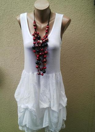 Платье-майка,туника,сарафан с кружевом,хлопок,пляжное,италия