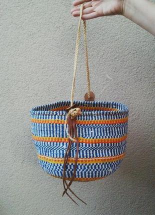Красивая плетеная,соломенная сумка-корзина пляжная с кожаными ...
