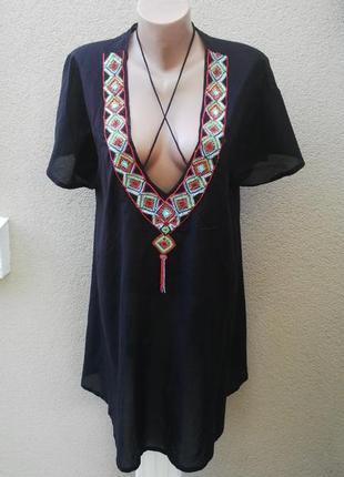 Блуза,туника пляжная,вышивка бисером по груди,хлопок+вискоза,э...
