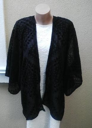 Кардиган,кимоно,накидка кружевная ,гипюровая,ажурная с бархатн...