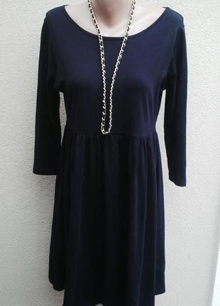 Черное платье из трикотажной ткани с баской,хлопок.asos.большо...
