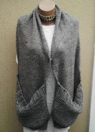 Большой,вязаный,шерстяной шарф,накидка(кардиган) с карманами и...