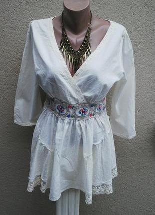 Блузка,рубаха,туника с вышивкой по поясу,кружево(гипюр)этно,бо...