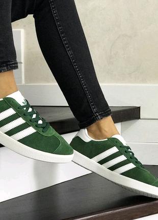 Женские кроссовки Adidas Gazelle (зелёные)