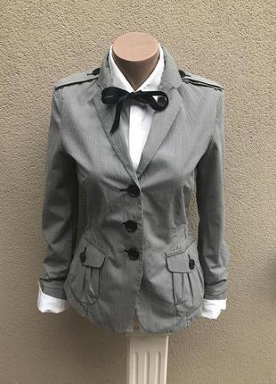Куртка-жакет,пиджак,ветровка в бело-черную клетку,хлопок+полиа...