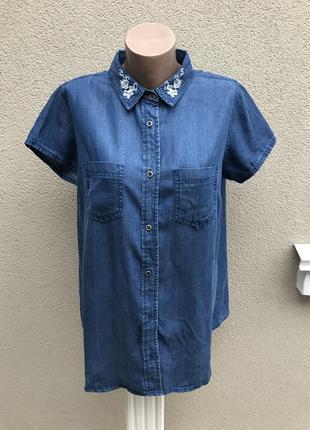 Новая джинсовая рубашка,блуза с вышивкой по вороту,этно,большо...