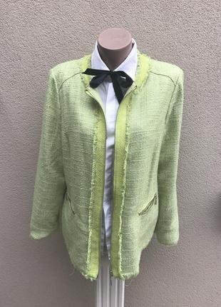 Твидовый,буклир.,фактурный жакет,пиджак с бахромой,стиль шанел...