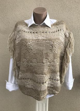 Жилет,кофта вязан.,ажурная с бахромой,бохо стиль,хлопок,акрил,...