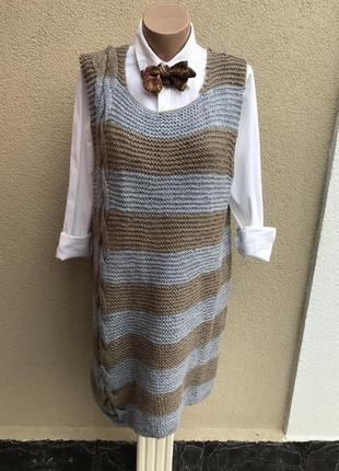 Красивая,теплая,вязаная,шерстяная жилетка,туника,кофта,платье ...